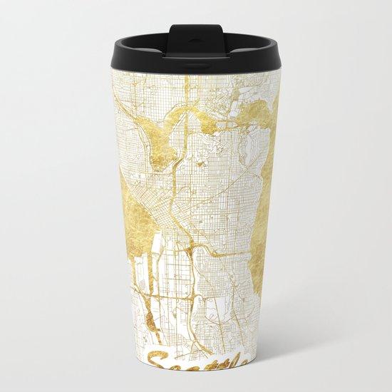 Seattle Map Gold Metal Travel Mug
