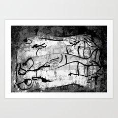 blank & white fishes Art Print