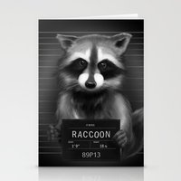 rocket raccoon Stationery Cards featuring Raccoon Mugshot by Company of Wolves