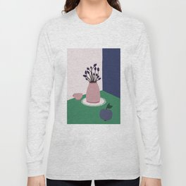 Still Life with Apple, Lavender Flowers and Cup Long Sleeve T-shirt