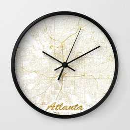 Atlanta Map Gold Wall Clock