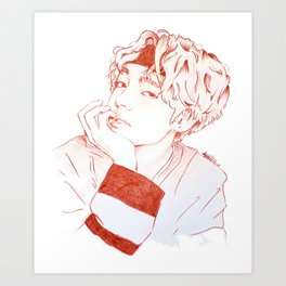 Taehyung with sanguine pencil Art Print