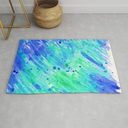 Abstract watercolor blue and green Rug