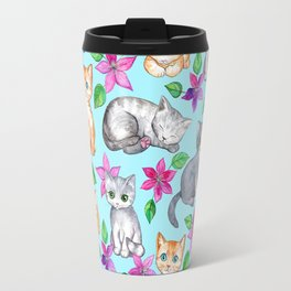 Kittens and Clematis - blue Travel Mug