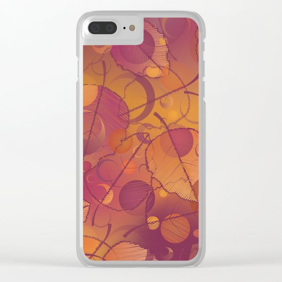 Floating Leaves Pattern III - Autumn, Pink Violet Clear iPhone Case