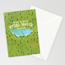 Rydal Water Cumbria Travel map Stationery Cards