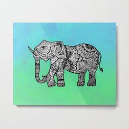 Elephant Lines on Watercolor Metal Print