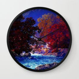 Swift Water River and Autumn Red Leaves by Maxfield Parrish Wall Clock