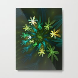 Fantasy Flowers, Fractal Art Metal Print