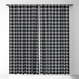 PreppyPatterns™ - Cosmopolitan Houndstooth - black and silver gray Blackout Curtain