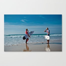 Pro Surfers before the battle Canvas Print
