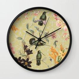 Yellow Hummingbird Wall Clock