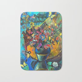 Flowers in Blue Landscape Bath Mat