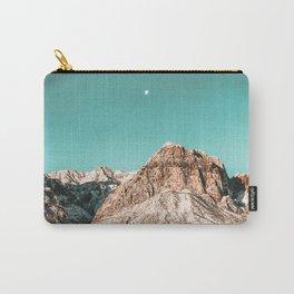 Vintage Red Rocks Moon // Mountain Range Snowcaps in Winter Desert Landscape Photograph Luna Sky Carry-All Pouch