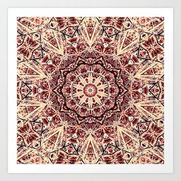 Beige Old Rose Mandala  Psychedelic Pattern Art Print