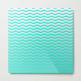 Turquoise Tropical Faded Ombre-Shaded Ocean Blue Green Sea Chevron Metal Print