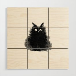 Duster - Black Cat Drawing Wood Wall Art