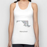maryland Tank Tops featuring Maryland map by David Zydd
