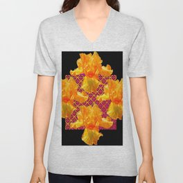 Golden Spring Iris Patterned Black  Decor Unisex V-Neck