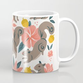 Squirrels & Blooms – Coral & Teal Coffee Mug
