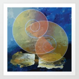 Orange,Yellow & Blue Minimal Art Art Print
