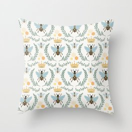 Queen Bee with Gold Crown and Laurel Frame Throw Pillow