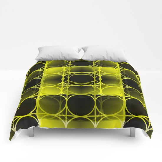 Circles, Grids and Shadows in Black and Yellow Comforters