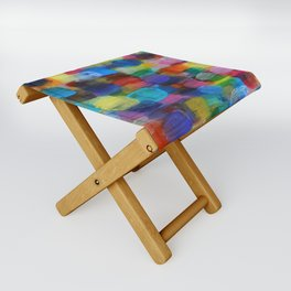 Colorful Abstract Art Brushstrokes in Yellow, Blue, Turquoise Folding Stool