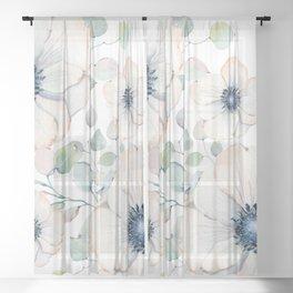 Summer Flowers White #society6 #buyart Sheer Curtain