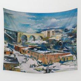 Harlem Renaissance masterpiece Winter, Harlem River, New York City cityscape landscape painting by Preston Dickinson Wall Tapestry