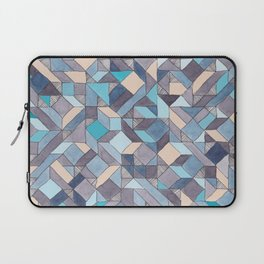 Shifitng Geometric Pattern in Blue Laptop Sleeve