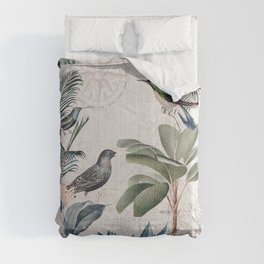 Tropical Birds Paradise Vintage Botanical Illustration Comforters