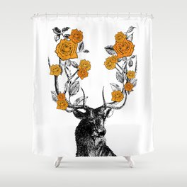 The Stag and Roses | Deer and Flowers | Orange | Vintage Stag | Vintage Deer | Antlers | Woodland | Shower Curtain