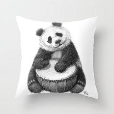 Panda playing percussion G140 Throw Pillow