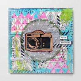 """Make Memories"" Old Camera Art. Old Camera Theme. Vintage Camera Metal Print"