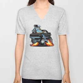 Classic Sixties American Muscle Car Popping a Wheelie Cartoon Illustration Unisex V-Neck
