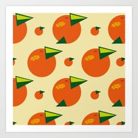 orange pattern Art Prints featuring orange pattern by Avrora-slip