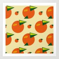 orange pattern Art Prints featuring orange pattern by Avrora-slip
