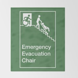 Accessible Means of Egress Icon, Emergency Evacuation Chair Sign Throw Blanket