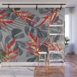 Monstera Heliconia Palm Leaves Wall Mural