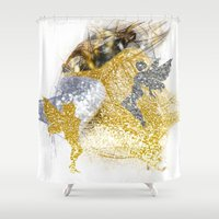 fairies Shower Curtains featuring Glitter Fairies by haroulita