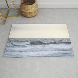 Sea Waves Modern and Vintage Beach Aesthetic Photography of Artsy Light Yellow Pink Sky Rug
