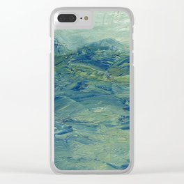 Abstract Blue Green Waves of Aqua Ocean Blue Mountains Clear iPhone Case