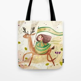 little girl and her deer on their journey Tote Bag