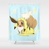 eevee Shower Curtains featuring Eevee-licious! by SkyNeko