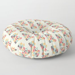 Sun Surf Sea Salt Sand Typography - Retro Rainbow Floor Pillow
