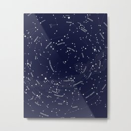 Constellation Map - Indigo Metal Print