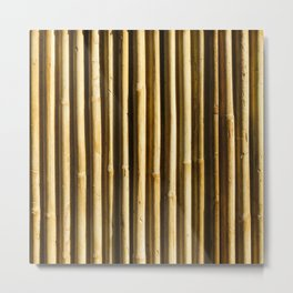 Bamboo Vertical Lines Pattern Metal Print