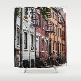 Picturesque street view in Greenwich Village, New York Shower Curtain