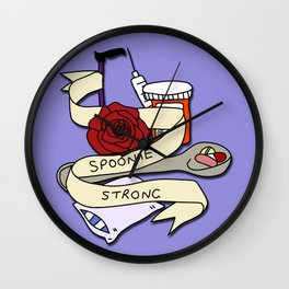 Spoonie Strong - Purple background Wall Clock